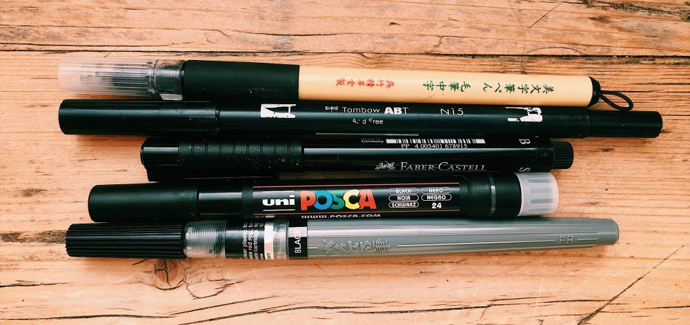 My most used, tried and tested brush pens that I have used in my illustrations. All in black!