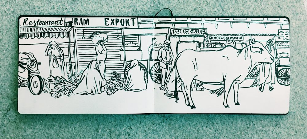 Illustration of Pushkar Square by Jasmine Hortop. Sketchbook drawing from an illustrated travel journal.
