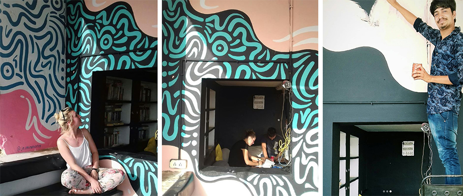 Some finished pictures of my mural in U Turn Hotel, Pushkar, India painted by mural artist Jasmine Hortop.