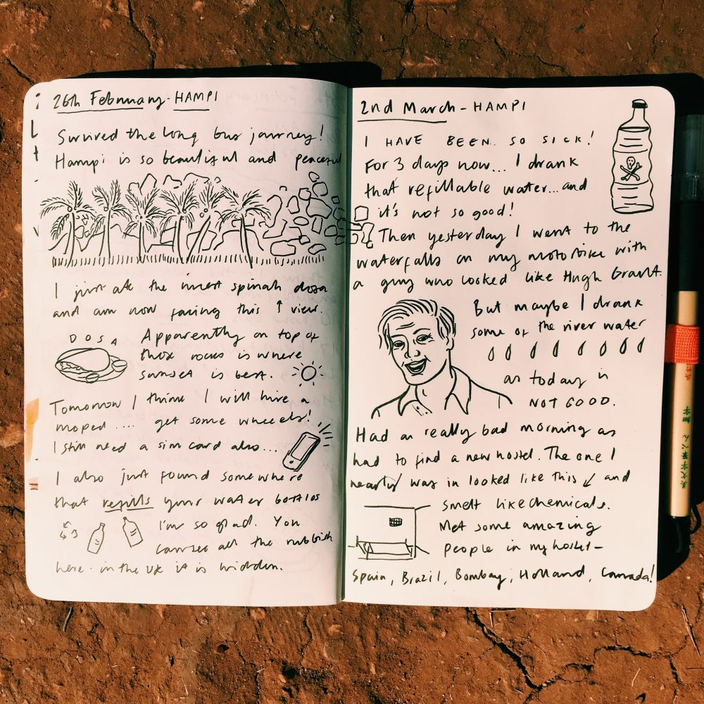 Illustrated travel journal sketchbook of Hampi, by Jasmine Hortop