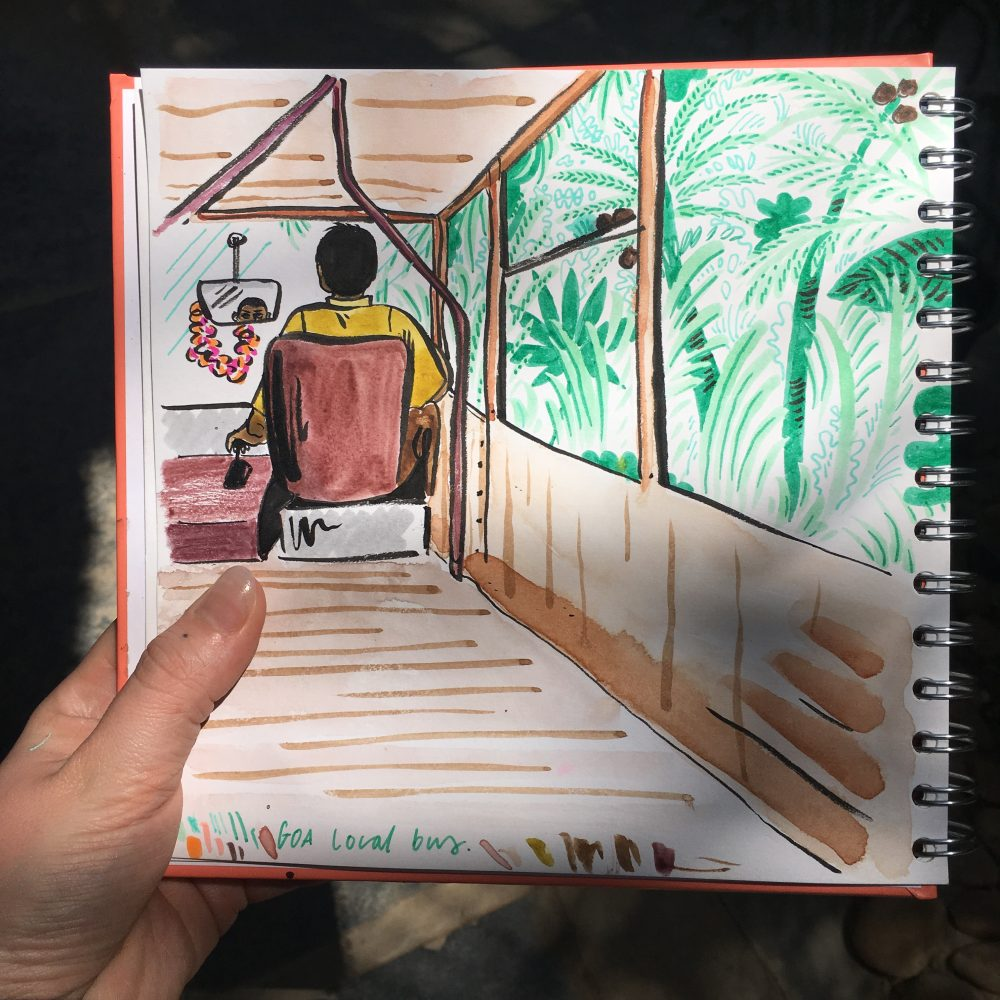 Sketchbook travel illustration of a local bus in South Goa, India by Jasmine Hortop