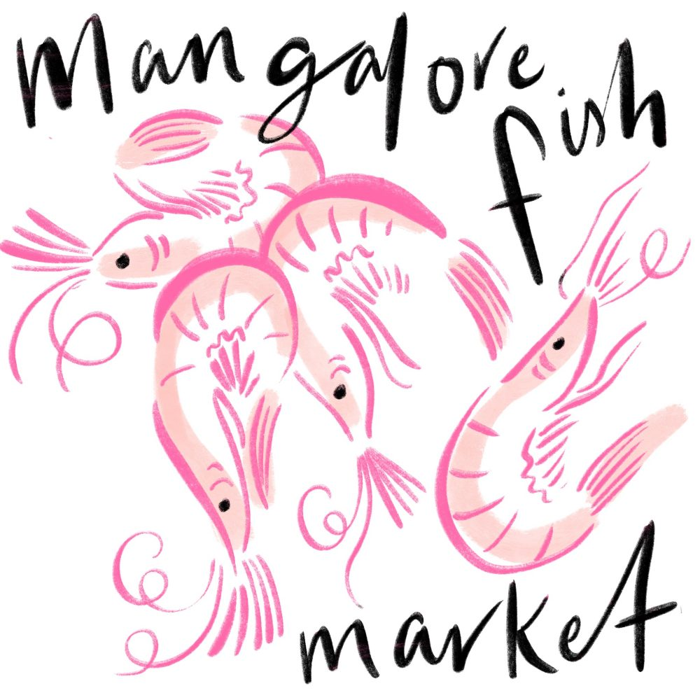 Mangalore Fish market food illustration of prawns by Jasmine Hortop