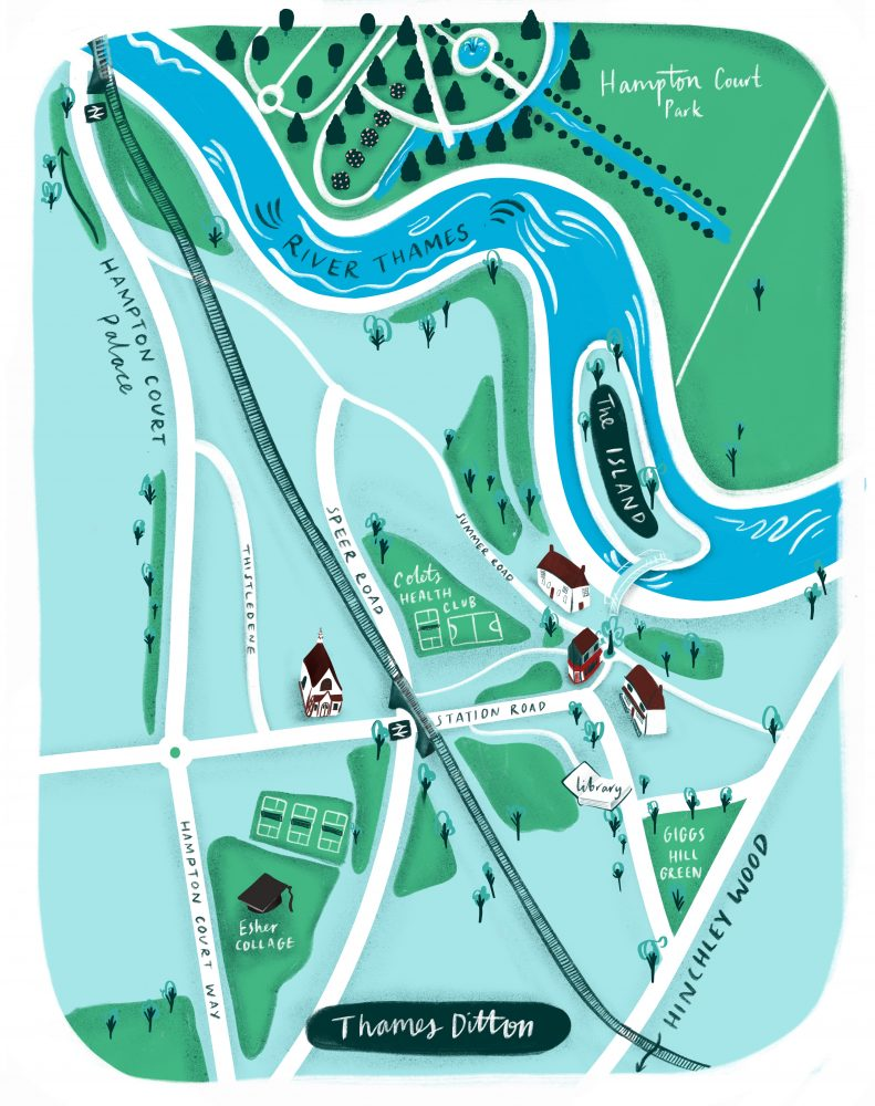 Illustrated map of London suburb Thames Ditton by Jasminr Hortop