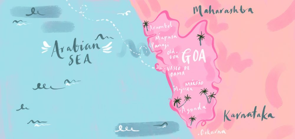 An illustrated map of the state Goa in India drawn by Jasmine Hortop