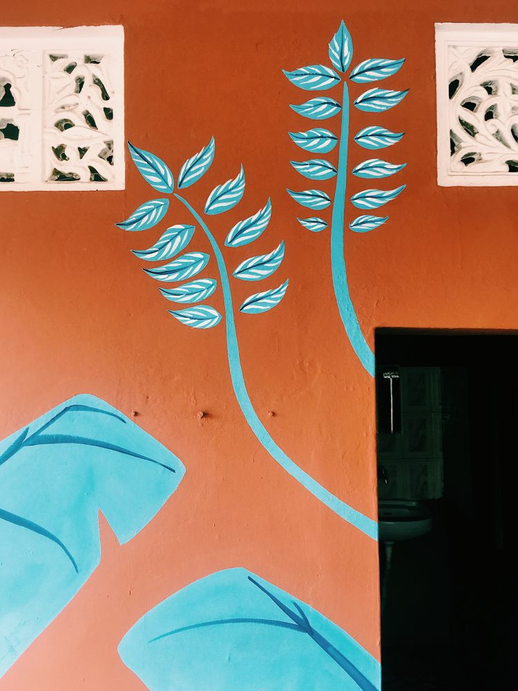 Botanical mural by Jasmine Hortop in Pushkar India