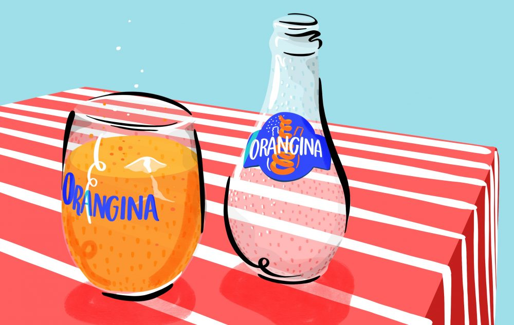 digital illustration of orangina bottle and glass