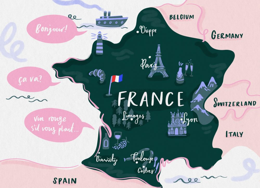 Map illustration of France showing the major towns and their attractions