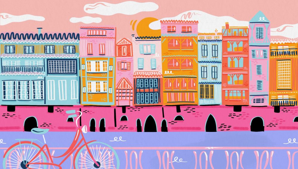 Colourful digital illustration of Castres river houses
