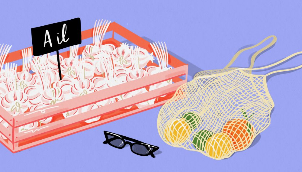 Market day illustration of crate of garlic, shopping bag, and sunglasses